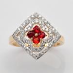 แหวนพลอยแท้ แหวนเงินแท้ 925 ชุบทองคำ ฝังพลอยทับทิม ประดับเพชร CZ เกรดพรีเมี่ยม