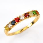 แหวนนพเก้า แบบเรียงแถว แหวนทองแท้ พลอยแท้ เพชรแท้