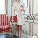 เสื้อผ้าแฟชั่นเกาหลี Lady Ribbon Thailand Normal Ally Present striped shirt supper dress