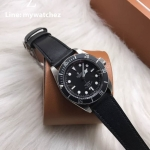 Tudor Heritage Black Bay Matt Burgundy Disc - Black Leather Strap