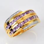 แหวนทองแท้ ประดับพลอยอเมทิส เพชรแท้