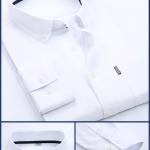 เสื้อเชิ้ตผู้ชายแขนยาวใส่ทำงาน สีขาว