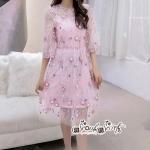 เสื้อผ้าแฟชั่นเกาหลี Lady Ribbon Thailand LUXURY by Seoul Secret ...Chiffon Dress Mesh Lace Embroidery Dimension Sweet Pink