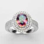 แหวนพลอยแท้ แหวนเงิน925 พลอย มิสติก โทปาส ประดับเพชร CZ ชุบทองคำขาว