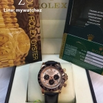 Rolex Daytona Cosmograph Pink Gold Black Leather Strap 40MM