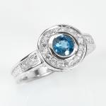 แหวนพลอยแท้ แหวนเงินแท้ 925 พลอยโทปาส London Blue Topaz ล้อมด้วยเพชร CZ ชุบทองคำขาว
