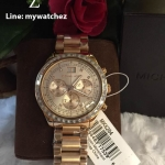 / Michael Kors Brinkley Chronograph Rose Dial Rose Gold-tone Ladies Watch MK6204