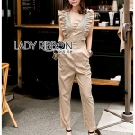 เสื้อผ้าแฟชั่นเกาหลี Lady Ribbon Thailand Lady Ribbon's Made Lady Janet Ruffle Beige Gold Jumpsuit