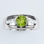 แหวนพลอยแท้ แหวนเงิน925 พลอย เพอริดอท ประดับเพชร CZ ชุบทองคำขาว