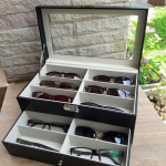 กล่องเก็บแว่นตา12ช่อง แบบ2ชั้น