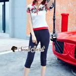 เสื้อผ้าแฟชั่นเกาหลี Lady Ribbon Thailand Seoul Secret Say's... Chill Sport Blossom Slacks Set