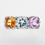 แหวนพลอยแท้ แหวนเงิน925 พลอย แฟนซี ตัวเรือน ชุบทองคำขาว