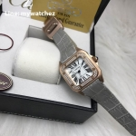Cartier Sanos 100 W20073X8 Rose Gold Grey/Diamond Bezel