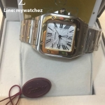 Cartier Santos 100 Mens W200728G - Two Tone White Dial