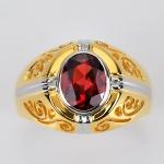 แหวนทองแท้ ประดับพลอยโกเมน