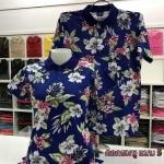 เสื้อโปโลลายดอก ดอกชมพู เนื้อผ้า COTTON100% เหลือ SIZE ชาย L, หญิง XL