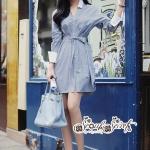 เสื้อผ้าแฟชั่นเกาหลี Lady Ribbon Thailand Seoul Secret Say'...Stripe Dress Shirt Blue Chic With White Collar