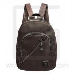 Nano fiber fabrics Backpack, oblique line zipper-Coffee