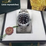 ROLEX Day-Date Diamond Dial Fluted Bezel - Black Steel