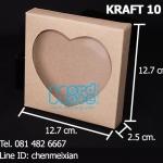 กล่องกระดาษคราฟ รูปหัวใจ เจาะหน้าต่าง ขนาด 12.7x12.7x2.5 cm.