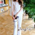 เสื้อผ้าแฟชั่นเกาหลี Lady Ribbon Thailand Seoul Secret Say'...Glass cloth Embroidery Lace Sleeve design White Set