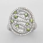 แหวนพลอยแท้ แหวนเงินแท้925 ชุบทองคำขาวฝังพลอยมรกต ล้อมด้วยเพชร CZ คุณภาพสูง