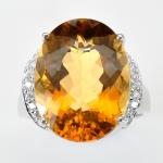 แหวนพลอยแท้ แหวนเงินแท้925 พลอยซิทริน(Citrine) สีเหลืองทอง สวย ตกแต่งด้วยเพชร CZ