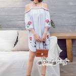 เสื้อผ้าแฟชั่นเกาหลี Lady Ribbon Thailand Seoul Secret Say'...Shoulder Blue Dress Embroidery Lace Bohemia