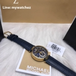 MICHAEL KORS Sayer Blue Dial Amber Blue Leather Ladies Watch MK2425