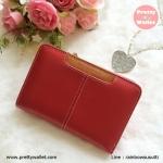 กระเป๋าสตางค์หนังแท้ผู้หญิง กระเป๋าสตางค์ Oudishengma สีแดง ใบกลาง