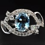 แหวนพลอยแท้ แหวนเงิน925 ชุบทองคำขาว ฝังพลอยโทปาสสีฟ้า ประดับเพชร CZ เกรดพรีเมี่ยม