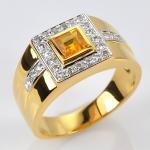 แหวนทองคำแท้ บุษราคัม ประดับเพชร