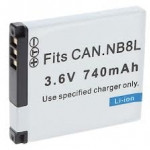 แบตเตอรี่กล้องดิจิตอล Canon NB-8L Battery for Canon Digital Camera PowerShot A2200 PowerShot A3000