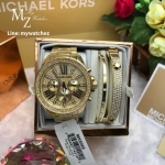 MICHAEL KORS Wren Chronograph Crystal Pave Dial Ladies Watch MK6095+Bracelet Set