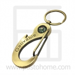 Keyring, Big Claw Keyring with compass picture, Brass