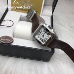 Cartier Sanos 100 W20073X8 Brwon Leather Strap