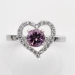 แหวนพลอยแท้ แหวนเงิน925 พลอยแท้อเมทิสสีม่วง ประดับเพชร CZ ชุบทองคำขาว