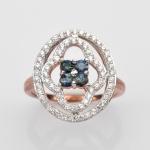 แหวนพลอยแท้แหวนเงิน925 พลอย ไพลิน ประดับเพชร CZ ชุบPink Gold