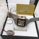 Cartier Sanos 100 W20073X8 Rose Gold Grey Strap