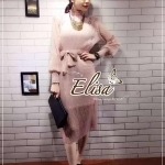Elisa made Classy pleaty feminine see through Modern Dress