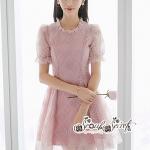 เสื้อผ้าแฟชั่นเกาหลี Lady Ribbon Thailand Seoul Secret Say'...Lady Geometry Lace Sweet Pink Dress Korea Style