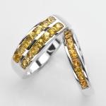 แหวนคู่รักฝังพลอยแท้ แหวนเงินแท้ 925 ชุบทองคำขาว ฝังพลอยบุษราคัม