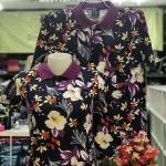 เสื้อโปโลลายดอก ลายดอกม่วงแบบ1 เนื้อผ้า COTTON100% ** เหลือ SIZE ชาย L, XL หญิง M