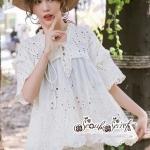 เสื้อผ้าแฟชั่นเกาหลี Lady Ribbon Thailand Seoul Secret Say'...Lace Embroidered Cotton Blouse White Circle Korea Style