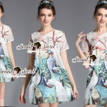 Seoul Secret Say's... Peafowl Saphire Tonely Printed Dress