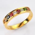 แหวนนพเก้า แบบเรียงแถว แหวนเงินแท้เคลือบทองแท้ พลอยแท้