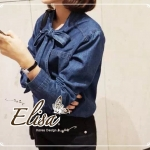 Elisa made Denim Bow Tie Shirt