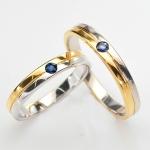 แหวนคู่รักฝังพลอยแท้ แหวนเงินแท้ 925 ชุบทองคำขาว ฝังพลอยไพลิน