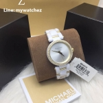 MICHAEL KORS Delray Pave White Acetate and Gold-Tone Ladies Watch MK4315