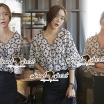 Seoul Secret Say's... Navy Daisy Perforate Blouse